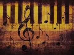 Vintage musical background with piano Stock Illustration