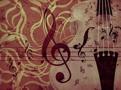 Stock Illustration of Violin floral background