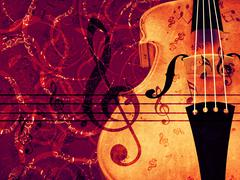 Violin floral background - stock illustration