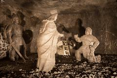 Saint Kingas Chapel depicting when a miner finds her ring salt statue in Wiel Stock Photos