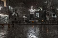 St. Kinga's Chapel 101 meters underground in Wieliczka Salt Mine - stock photo