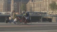 Girl biking in Amsterdam - ungraded: c-log Stock Footage