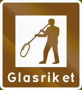 Road sign used in Sweden - Tourist attraction area: The glass empire - stock illustration