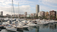 Yacht port with a city view, Alicante Spain Stock Footage