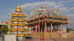 Colorful chinese temple ,Udon Thani,Thailand Stock Footage