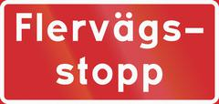 Road sign used in Sweden - All way stop - stock illustration