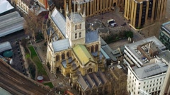 Aerial panoramic view of Southwork cathedral Stock Footage