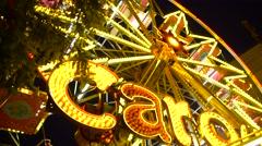 Spinning Ferris Wheel Carousel Carnival Ride at Night Stock Footage