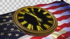 Stock Video Footage of The clock strikes midnight on the background of flag USA