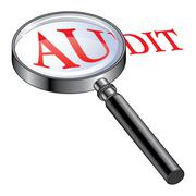 Audit Magnified - stock illustration