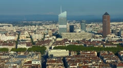 View from Lyon skyline with Incity tower, Part-Dieu tower and Mont Blanc Stock Footage