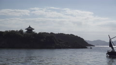 Pagoda and Ferry at Tomonoura in Japan Stock Footage
