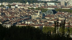 View of Lyon city (France) with Opera Building and Place des Terreaux Stock Footage