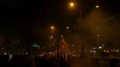 4k Common public New Year fireworks celebration citylife Stock Footage