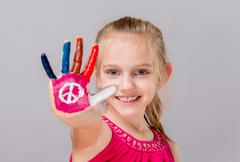 Painted peace sign - stock photo