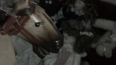 Rocking horse, zoom in, old film effect Stock Footage