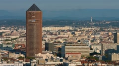 View from Lyon skyline with Part-Dieu tower Stock Footage