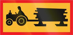 Road sign used in Sweden - Forestry vehicle crossing ahead Stock Illustration