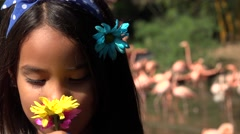 Hispanic Girl Smilling on Sunny Day Stock Footage