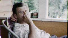 Man Inhales DEADLY Cigarette Smokes Cancer 1960s Vintage Film Home Movie 9147 Stock Footage