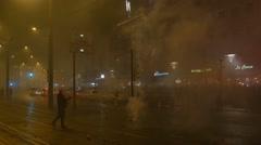 Stock Video Footage of 4k Ecstatic New Year fireworks celebration citylife