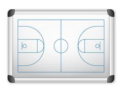 whiteboard basketball - stock illustration