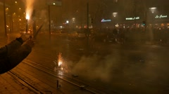 4k Common public New Year handheld fireworks celebration citylife Stock Footage