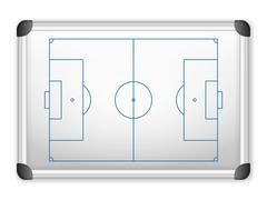 whiteboard soccer - stock illustration