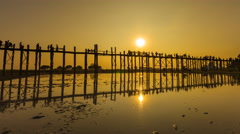 Stock Video Footage of U Pain (Bain) Bridge Famous History Place Of Myanmar