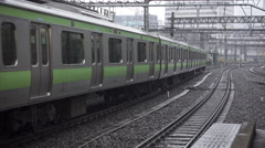 Yamanote Line Train Departs Ueno Station Stock Footage