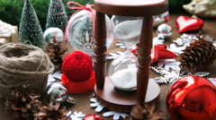 Wooden hourglass measures time till holiday. 4K, UHD 3840x2160. - stock footage