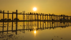 Stock Video Footage of U Pain (Bain) Bridge Famous History Place Of Myanmar (zoom out)