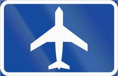 Road sign used in Sweden - Airfield straight ahead - stock illustration