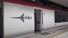Narita Express Departs from Terminal 2 Stock Footage