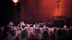 1966: Inside the Catholic church 1st communion ceremony secrets exposed. DES - stock footage