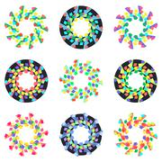 Circular geometric mosaic patterns. - stock illustration