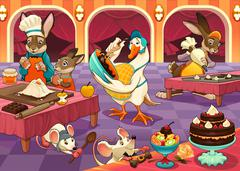 Funny animals are cooking cakes and cookies - stock illustration