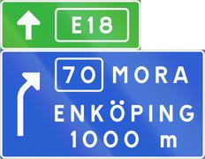 Road sign used in Sweden - Advance direction sign exit ahead from motorway or Stock Illustration