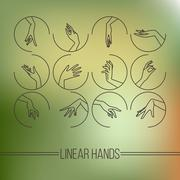 Set of icons of linear mapping graceful female hands - stock illustration