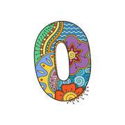Zentangle number. Decorative number. - stock illustration