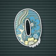 Stock Illustration of Zentangle number. Decorative number.
