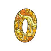 Stock Illustration of Zentangle number. Decorative number.