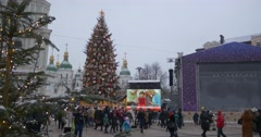 People Are Walking at Main New Year Tree Sofia Cathedral Bell Tower Panorama Stock Footage