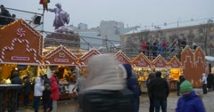 Crowd of People is Walking at Christmas Fair Kiosks Pavilions Souvenirs Toys Stock Footage