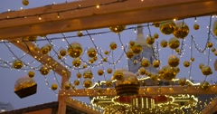 Walking People Illuminated Carousel Decorated With Lamps Golden Christmas Balls Stock Footage