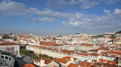 Lisbon cityscape view with clouds at sunny day, timelapse Stock Footage