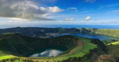 Lagoa de Santiago and Lagoa Azul on San Miguel island of Azores, timelapse - stock footage