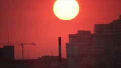 Town apartments at sunset Stock Footage