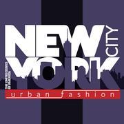 NYC t-shirt skyline - stock illustration