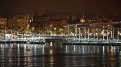 Bridge at Port Vell in night time. Barcelona, Spain Stock Footage